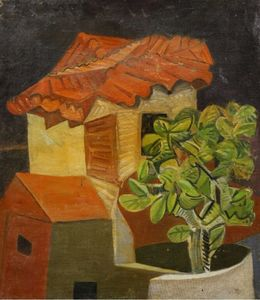 Alison Baily REHFISCH - Pintura - c.1935-38 The cactus house - Hommage to Georges Braque