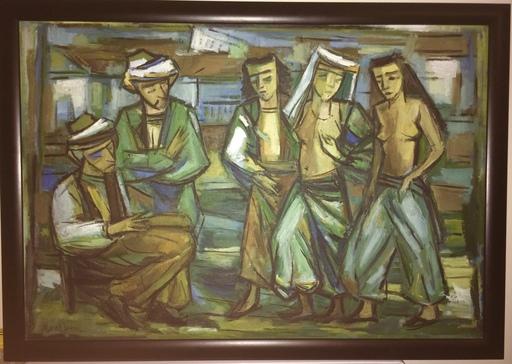 Marcel JANCO - Painting - Scène tatare aux bords de la Mer Noire