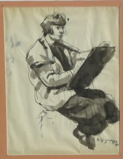 André Albert Marie DUNOYER DE SEGONZAC - Dibujo Acuarela - Dessin femme (L'artiste)