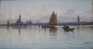 Emilio BONI - Dibujo Acuarela - San Giorgio di Maggiore from the Lagoon, Venice