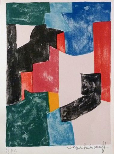 Serge POLIAKOFF - Estampe-Multiple - Composition noir, bleu et rouge 37