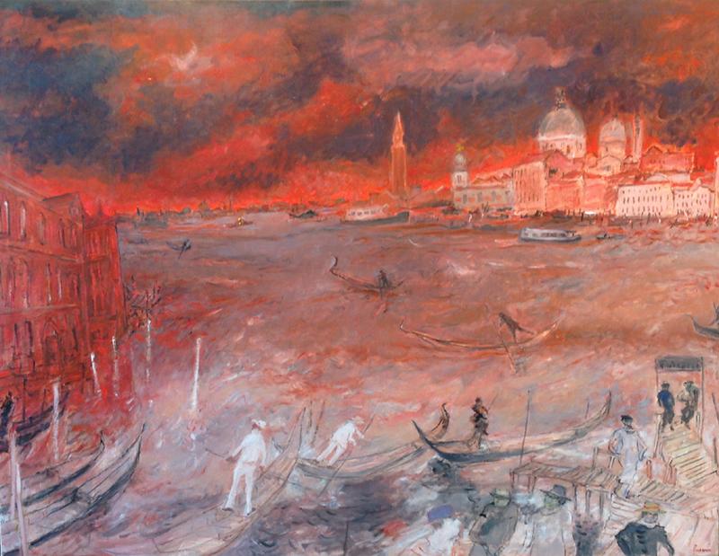 Jean FUSARO - Pintura - La traversée du Grand Canal, Venise
