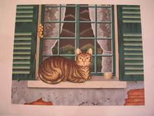 "Bernard VERCRUYCE - Grabado - ""Mistigri à la Fenêtre"",1987."