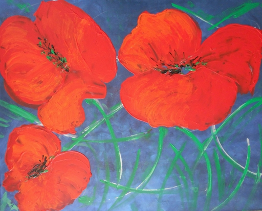 "Lillie PIRVELLIE - Painting - ""Starry night"" Red poppies, three flowers on blue green"