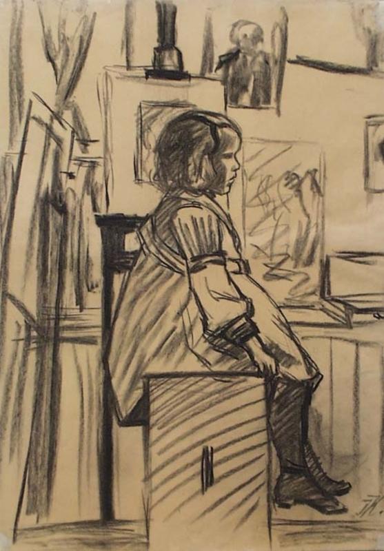 """Josef KALOUS - Zeichnung Aquarell - """"Artist's Daughter"""" by Josef Kalous, ca 1915"""