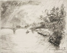 """Félix BRACQUEMOND - Grabado - """"PARIS Vue du Pont des Saints Pères"""""""