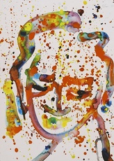 Sam FRANCIS - Drawing-Watercolor - Untitled Portrait