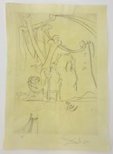 Salvador DALI (1904-1989) - Le désert avec sa piste d'orfereies et d'...