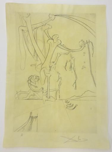 萨尔瓦多·达利 - 版画 - Le désert avec sa piste d'orfereies et d'...
