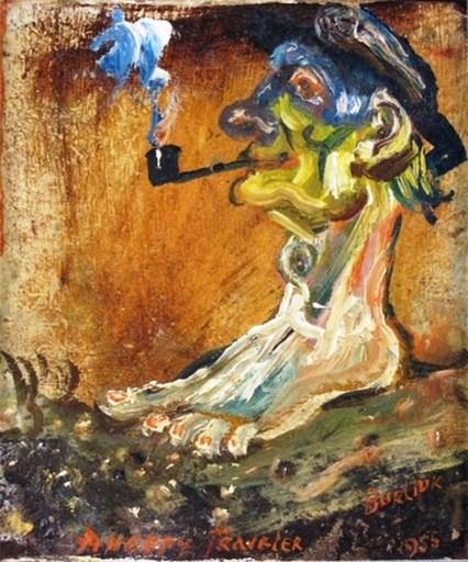 David BURLIUK - Gemälde - The Happy Traveler