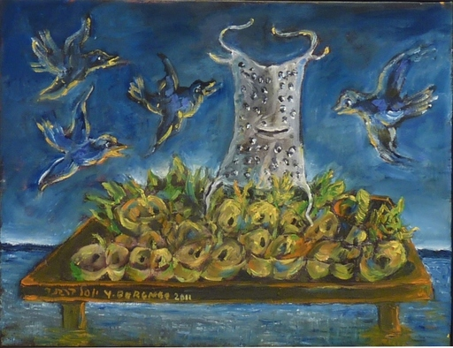 Yosl BERGNER - Painting - Grater and Birds