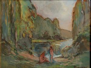 """Fernand LAVAL - Disegno Acquarello - """"BAIGNEUSES A LA RIVIERE"""""""