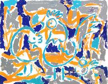 Jacqueline DITT - Estampe-Multiple - Achtung bl.Hühner (Attention bl.Chickens) 1/1 Originalgrafik