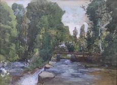 Jules CROSNIER - Dessin-Aquarelle - Retenue d'eau en forêt