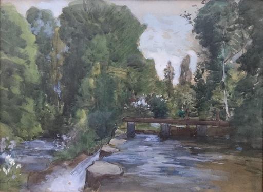 Jules CROSNIER - Dibujo Acuarela - Retenue d'eau en forêt