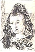 Ernst Georg HEUSSLER - Dibujo Acuarela - Girl in a Mantilla