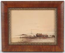 "Félix ZIEM - Drawing-Watercolor - ""Fishermen at the beach"" watercolor, 19th Century"
