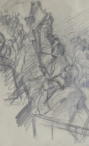 Claude RÉMUSAT - Drawing-Watercolor - FOSSE D'ORCHESTRE A BAYREUTH, dessin original au fusain