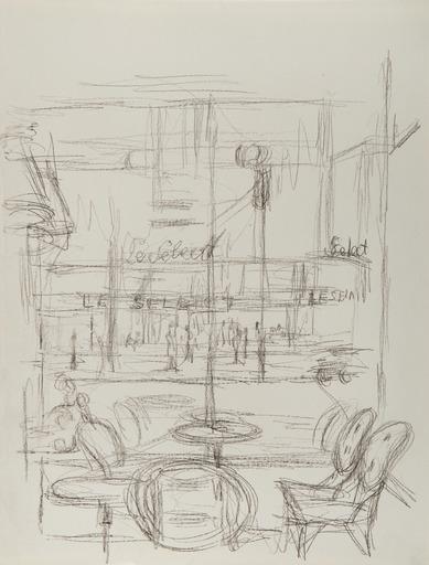 Alberto GIACOMETTI - Drawing-Watercolor - Le Select vu de la Coupole, Paris sans fin