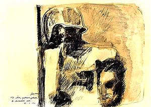 Piero GUCCIONE - Drawing-Watercolor - In patria qualcuno.... lo chiamerà eroe