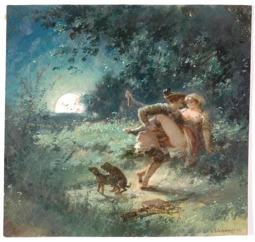 "Karl II SCHWENINGER - 水彩作品 - ""Nocturnal Rendez-vous"", 1893"