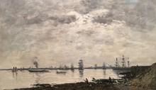 Eugène BOUDIN - Painting - Brest, bateaux dans la Rade