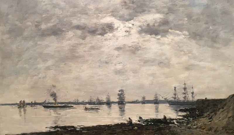 欧仁•布丹 - 绘画 - Brest, bateaux dans la Rade