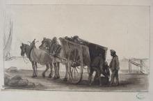 Eugène BURNAND - Dessin-Aquarelle - Déchargement d'un chariot