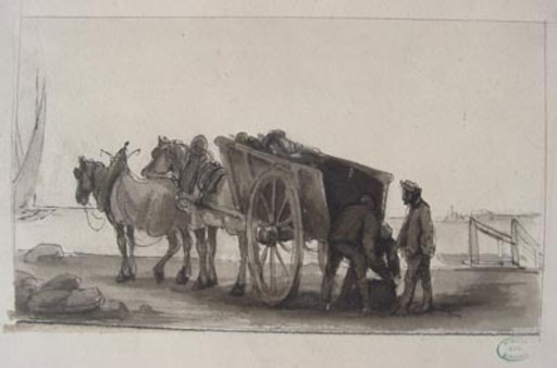 Eugène BURNAND - Dibujo Acuarela - Déchargement d'un chariot