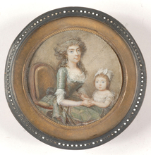 "François I DUMONT - Miniatura - ""Lady of title with little daughter"", outstanding miniature!"