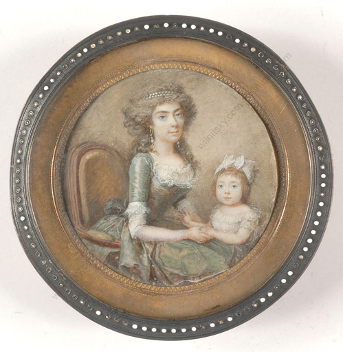 "François I DUMONT - Miniatur - ""Lady of title with little daughter"", outstanding miniature!"