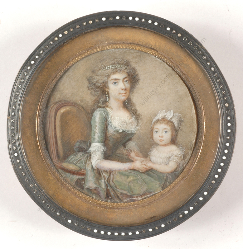 """François I DUMONT - Miniatura - """"Lady of title with little daughter"""", outstanding miniature!"""
