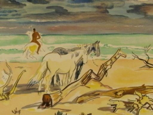 Yves BRAYER - Grabado - Les chevaux sur la plage,1968.