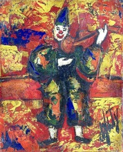Henry Maurice D'ANTY - Pintura - Clown with Violin