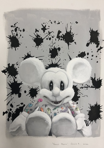Anna SELINA - Painting - White Mickey