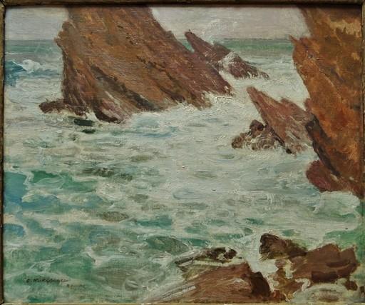 François Maurice ROGANEAU - Peinture - Rochers à Biarritz
