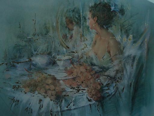Enrico FELISARI - Drawing-Watercolor - femme à table avec grappes de raisin