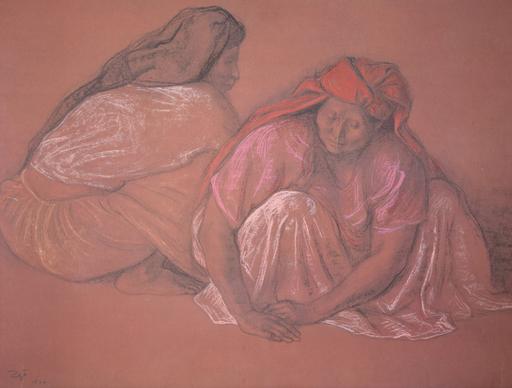 Francisco ZUÑIGA - Dibujo Acuarela - Untitled (Two Female Workers)