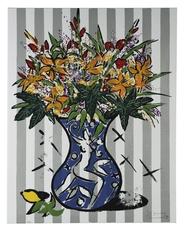 Stefan SZCZESNY - Grabado - Flowers on Stripes