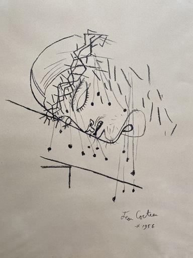 Jean COCTEAU - Dessin-Aquarelle - Christ à la couronne d'épines