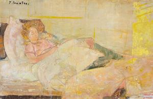 Jean COMMERE - Gemälde - Suzette endormie, 1960