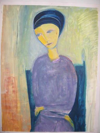 Hugues DE WILDEN - Peinture - Jeune fille assise