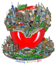 Charles FAZZINO - Print-Multiple - Constructing the gridlock apple!