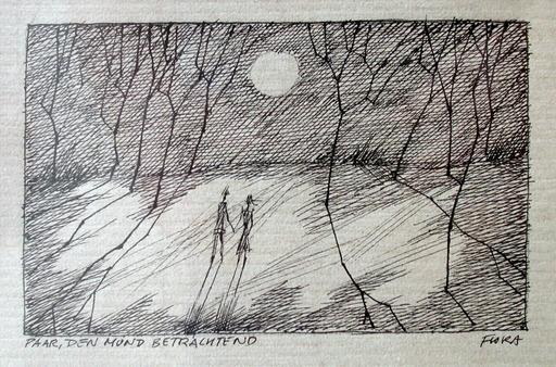 Paul FLORA - Drawing-Watercolor - Paar, den Mond betrachtend