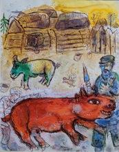 马克•夏加尔 - 水彩作品 - Le boucher cacher