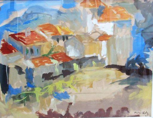 MANÉ-KATZ - Drawing-Watercolor - Village in the Ukraine