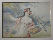 Eugène DEULLY - Painting - jeune femme au panier d'oranges