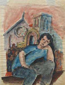 Béla KADAR - Drawing-Watercolor - Boy Sitting in the Crowd