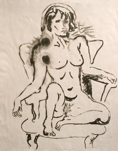 Manuel MONTERO - Dessin-Aquarelle - Femme nue n°4