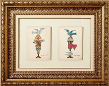Andy WARHOL - Drawing-Watercolor - Ice Cream Cups with Blue Bird / Two...